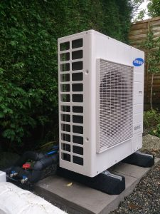 Air source heat pump installed in traditional cottage, Cornwall by ZLC Energy